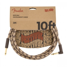Fender Angled Festival 10FT (3M) Instrument Cable, Brown Stripe