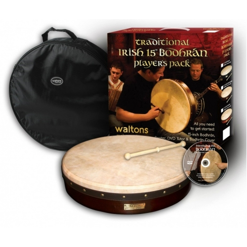 """Waltons 15"""" Bodhran Player's Pack with Cover, Beater & DVD (16055)"""