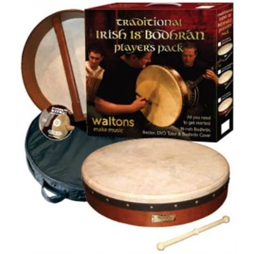 """Waltons 18"""" Bodhran Player's Pack with Cover, Beater & DVD (16056)"""