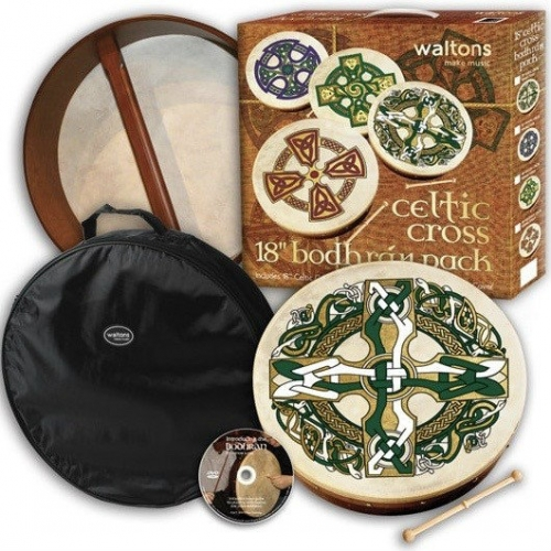 """Waltons 18"""" Bodhran Celtic Cross Player's Pack With Cover, Beater & DVD 16057C"""