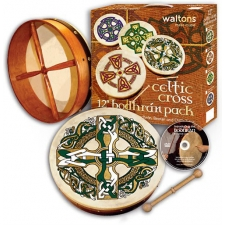 "Waltons 12"" Bodhran Gaelic Cross Player's Pack With Cover, Beater & DVD 16506"