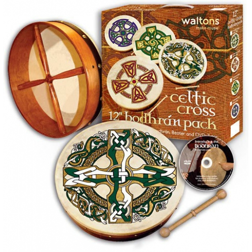 """Waltons 12"""" Bodhran Gaelic Cross Player's Pack With Cover, Beater & DVD 16506"""