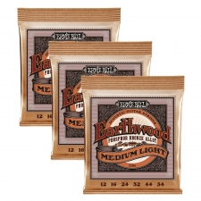 3 Sets of Ernie Ball Earthwood 2146 Phosphor Bronze Acoustic Guitar Strings 12-54