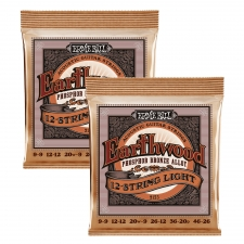 2 Sets of Ernie Ball Earthwood 2153 Phosphor Bronze 12-String Acoustic Guitar Strings 9-26