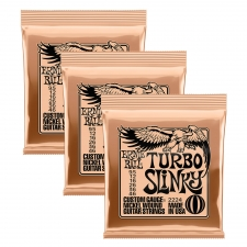 3 Sets of Ernie Ball 2224 Turbo Slinky Nickel Electric Guitar Strings 9.5 - 46
