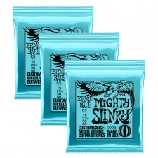 3 Sets of Ernie Ball 2228 Mighty Slinky Nickel Electric Guitar Strings 10-48