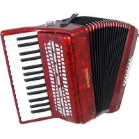 Scarlatti 24 Bass Accordion in Red Pearl Finish with Case & Straps (GR41002R)