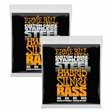2 Sets Of Ernie Ball 2843 Hybrid Slinky Stainless Steel Electric Bass Guitar Strings 45-105