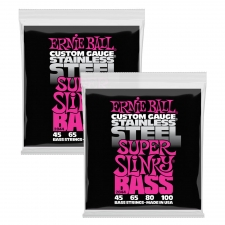 2 Sets Of Ernie Ball 2844 Super Slinky Stainless Steel Electric Bass Guitar Strings 45-100