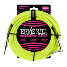 Ernie Ball P06085 Neon Instrument Cable 18FT 5.49M Straight Angled Guitar Lead