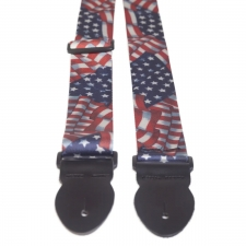 """Levin 2"""" Webbing Graphic Guitar Strap USA Flags (LS-G-WG-200-USA-FLAGS)"""