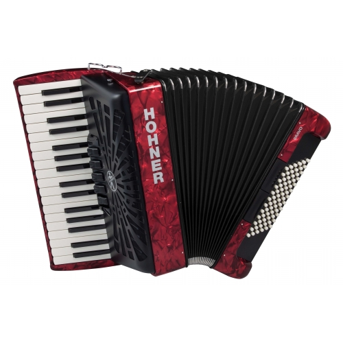 Hohner Bravo III 72 Bass Accordion in Red