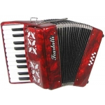Scarlatti 8 Bass Accordion In Red Pearl Finish With Straps (GR41009R)