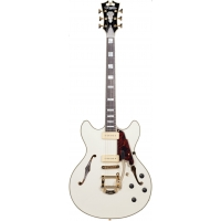 D'Angelico Excel DC Shoreline Double Cut Hollow Body Guitar in Vintage White
