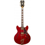 D'Angelico Excel DC Double Cut Hollow Body Guitar With Stopbar In Cherry