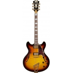 D'Angelico Excel DC Double Cut Hollow Body Guitar With Stopbar In Vintage Sunburst