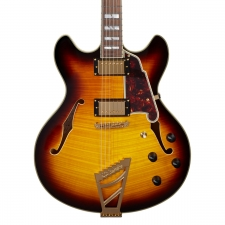 D'AngelicoExcel DC Double Cut Hollow Body Guitar With Stopbar In Vintage Sunburst