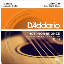 3 Sets of D'Addario EJ41 Phosphor Bronze 12-String Acoustic Guitar Strings 9-45