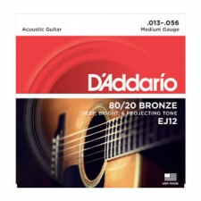 3 Sets of D'Addario EJ12 80/20 Bronze Acoustic Guitar Strings 13-56
