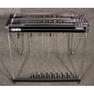 GFI D10E Expo Double Neck Pedal Steel Guitar With Hard Case in Black