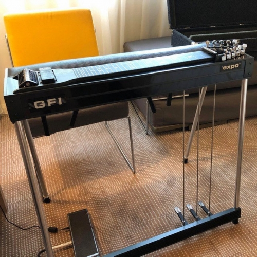 GFI S10PE Expo Pedal Steel Guitar with Pad in Black Inc Hardcase, Secondhand