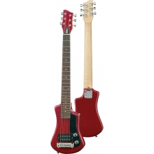 Hofner HCT Shorty Travel Electric Guitar In Red With Gig Bag