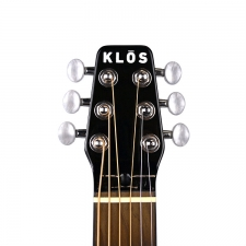 KLOS Acoustic Travel Guitar with Stiffening Neck Rods & Gig Bag (T_A)