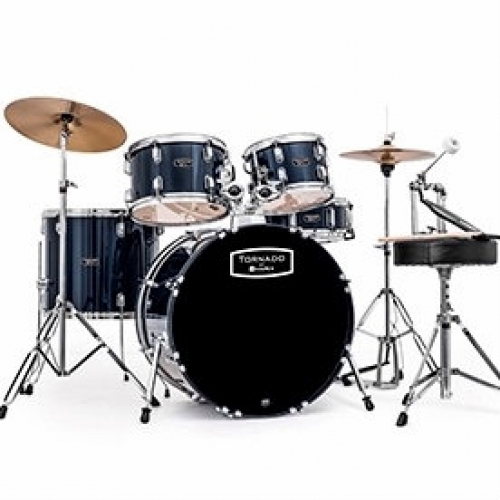 """Mapex Tornado 22"""" Rock Drum Kit in Blue with Hardware & Cymbals"""