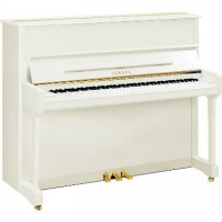 Yamaha P121-SH Silent Upright Piano In Polished White With Chrome Fittings