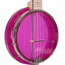 Gold Tone Little Gem Ukulele Banjo in Amethyst Pink With Gig Bag