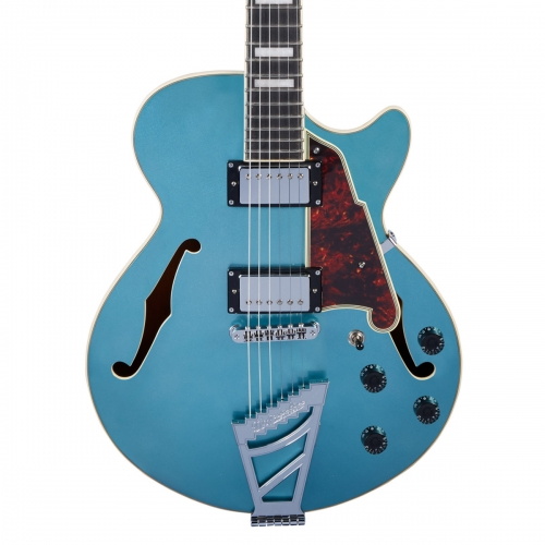 D'Angelico Premier SS Single Cut Hollow Body with Stop Bar in Ocean Turquoise