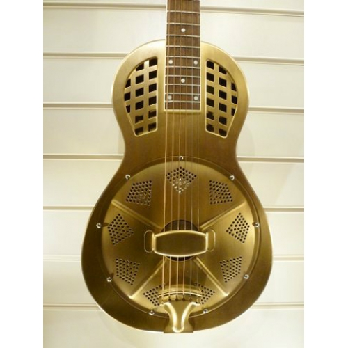 ResoVille Arlington MS12PG Single Cone Parlor Resonator In Brass & Case