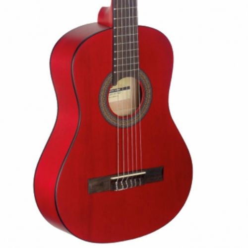 Stagg C430M 3/4 Size Nylon Strung Classical Guitar in Matt Red with Bag