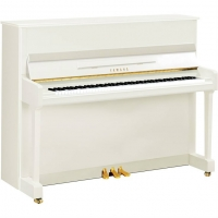 Yamaha P116 Upright Piano in Polished White with Chrome Fittings