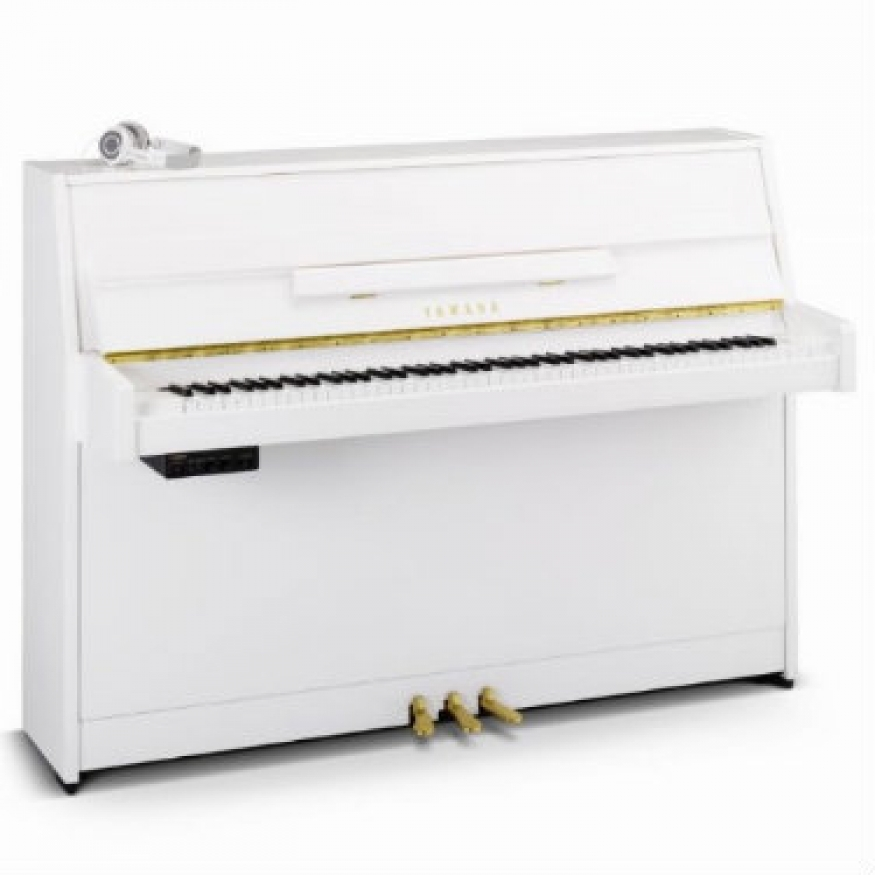 yamaha b1 sg2 silent upright piano in polished white. Black Bedroom Furniture Sets. Home Design Ideas
