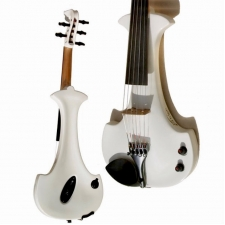 Bridge Lyra 5-String Electric Violin In White With Carbon Bow & Hard Oblong Case