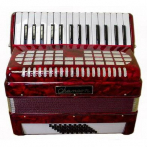 Chanson 48 Bass Piano Accordion In Red (7147RD)
