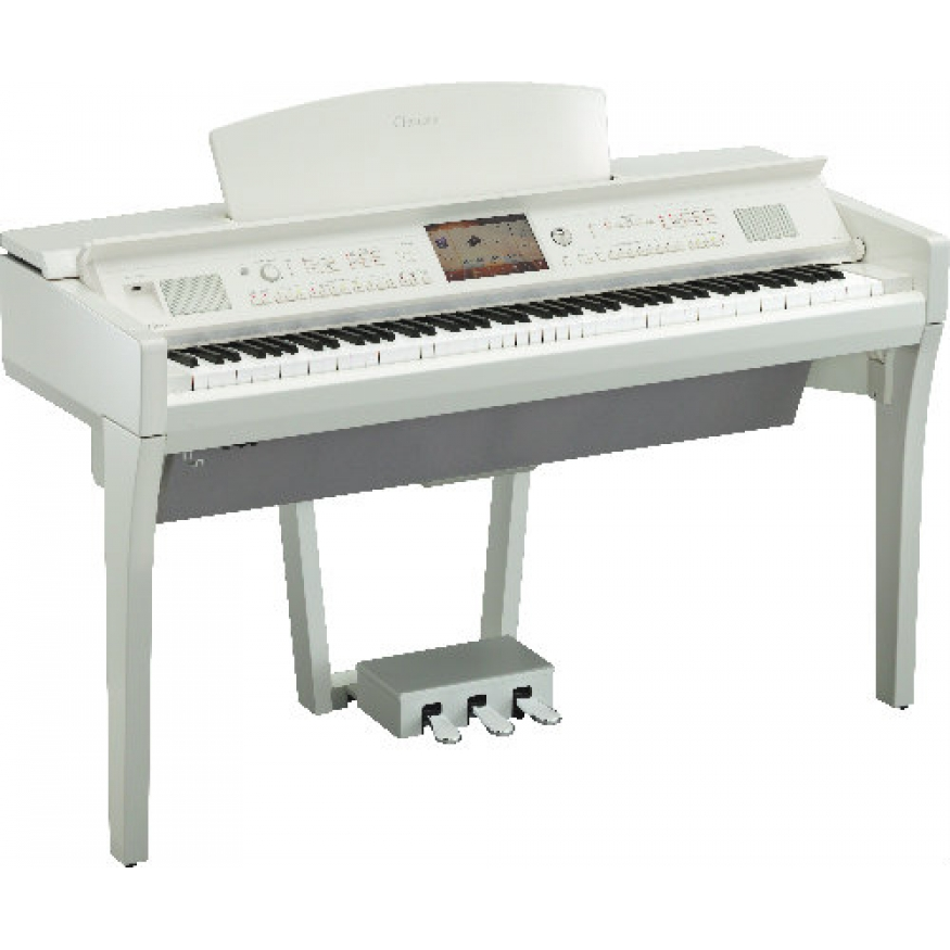 Yamaha cvp709 clavinova digital piano polished white at for White yamaha piano
