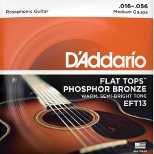 D'Addario EFT13 Flat Tops Resophonic Guitar Strings (Medium Gauge, Phosphor Bronze)