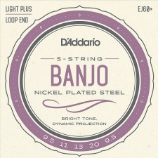 D'Addario EJ60+ Banjo Strings (Light Plus Tension, Loop End)