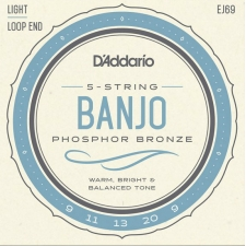 D'Addario EJ69 Banjo Strings (Light Tension, Loop End)