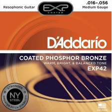 D'Addario EXP42 Resonator Guitar Strings (Medium Gauge, Coated Phosphor Bronze)