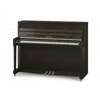 Kawai K200 SL Upright Piano in Dark Walnut Satin with Silver Fittings