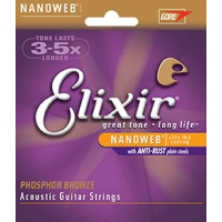 3 Sets of Elixir 16152 Phosphor Bronze 12-String Acoustic Guitar Strings 10-47