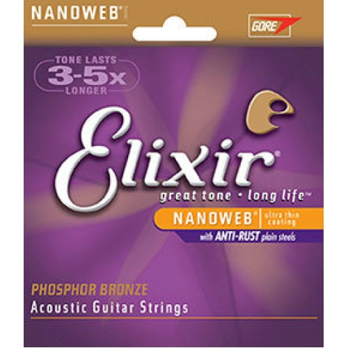 3 Sets of Elixir 16102 Phosphor Bronze Acoustic Guitar Strings 13-56