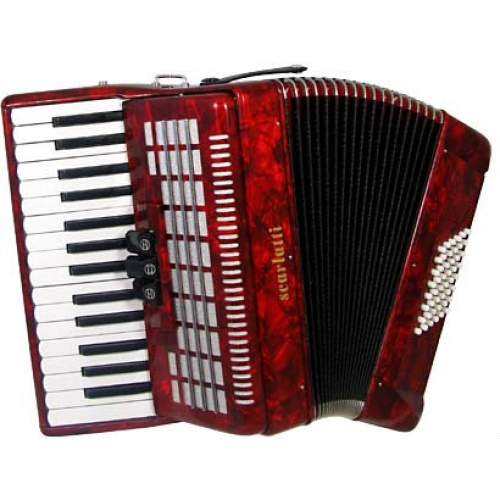 Scarlatti 48 Bass Accordion in Red Pearl Finish with Case & Straps (GR41003R)