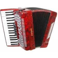 Scarlatti 48 Bass Accordion in Red Pearl With Bag & Straps (GR41004R)