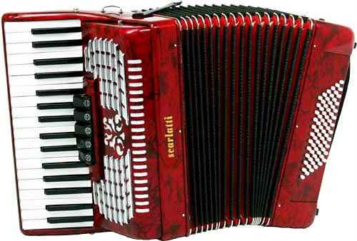 Scarlatti 72 Bass Accordion in Red Pearl Finish with Case & Straps (GR41006R)