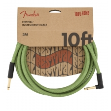 Fender Angled Festival 10FT (3M) Instrument Cable, Green Hemp