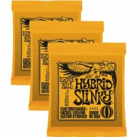 3 Sets of Ernie Ball 2222 Hybrid Slinky Electric Guitar Strings 9-46